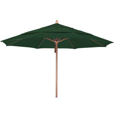 11 Market Umbrella Fabric: Sunbrella A Forest Green, Frame Finish: Marenti Wood