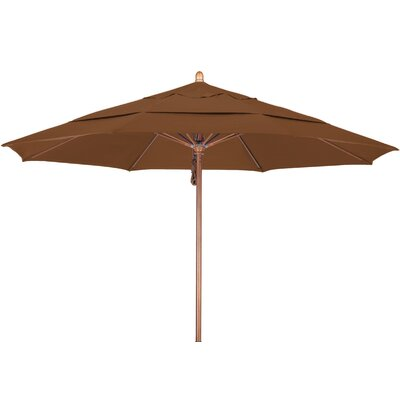 11 Market Umbrella Fabric: Sunbrella A Cork, Frame Finish: Marenti Wood