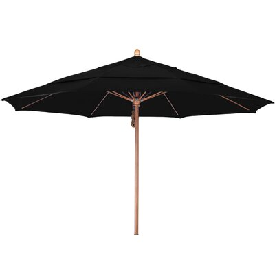 11 Market Umbrella Fabric: Sunbrella A Black, Frame Finish: Marenti Wood