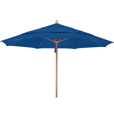 11 Market Umbrella Fabric: Sunbrella A Pacific Blue, Frame Finish: Marenti Wood