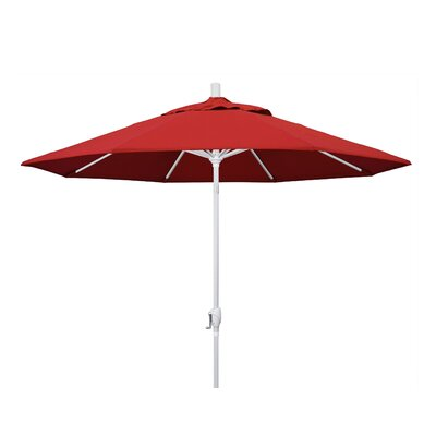 9 Market Umbrella Fabric: Jockey Red, Frame Finish: Matted White