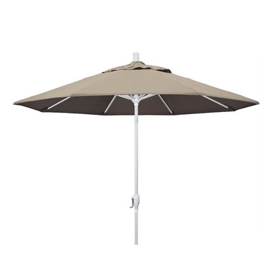 9 Market Umbrella Frame Finish: Matted White, Fabric: Sunbrella - Taupe