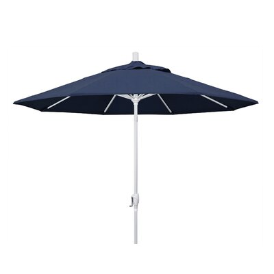 9 Market Umbrella Frame Finish: Matted White, Fabric: Sunbrella - Spectrum Indigo