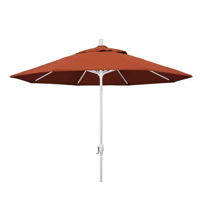 9 Market Umbrella Frame Finish: Matted White, Fabric: Sunbrella - Canvas Brick