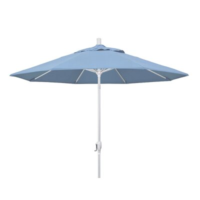 9 Market Umbrella Frame Finish: Matted White, Fabric: Sunbrella - Air Blue