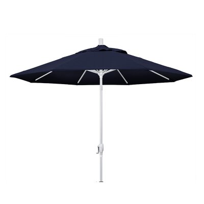 9 Market Umbrella Frame Finish: Matted White, Fabric: Pacifica - Navy Blue
