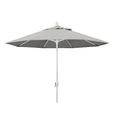 9 Market Umbrella Frame Finish: Matted White, Fabric: Sunbrella - Granite