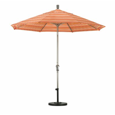 9 Market Umbrella Fabric: Sunbrella-Camel, Frame Finish: Champagne