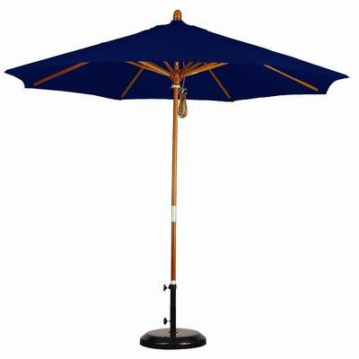 California Umbrella 9' Wood Market Umbrella - Fabric: Sunbrella A Navy