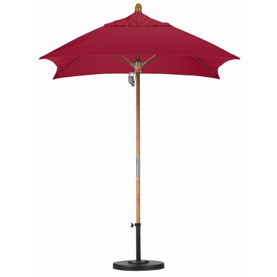 6 Square Market Umbrella Fabric: Sunbrella AA Jockey Red, Frame Finish: Marenti Wood