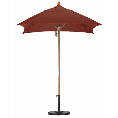 6 Square Market Umbrella Fabric: Sunbrella AA Henna, Frame Finish: Marenti Wood