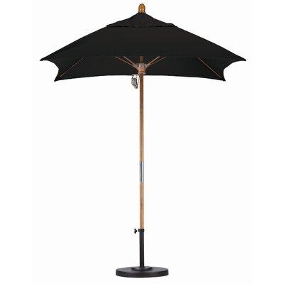 6 Square Market Umbrella Fabric: Sunbrella A Black, Frame Finish: Marenti Wood