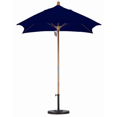 6 Square Market Umbrella Fabric: Sunbrella A Navy, Frame Finish: Marenti Wood