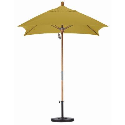 6 Square Market Umbrella Fabric: Sunbrella A Brass, Frame Finish: Marenti Wood
