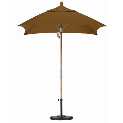 6 Square Market Umbrella Fabric: Sunbrella A Canvas Teak, Frame Finish: Marenti Wood