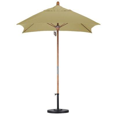 6 Square Market Umbrella Fabric: Sunbrella-Heather Beige, Frame Finish: Marenti Wood