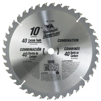 "Vermont American 10"" 40 TPI Trade Duty Series Carbide Tipped Circular Saw Blade at Sears.com"