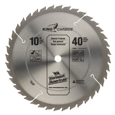 "Vermont American 10"" 40T Smooth Cut Circular Saw Blade  27256 at Sears.com"