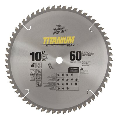 "Vermont American 10"" 60 TPI 10X Titanium Carbide Circular Saw Blades 27835 at Sears.com"