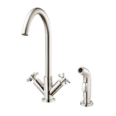 Parma Double Handle Deck Mount Kitchen Faucet Finish: Brushed Nickel