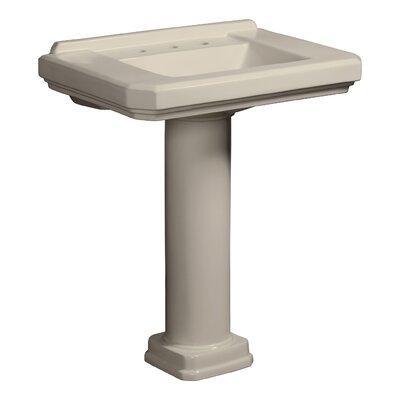 Cirtangular 30 Pedestal Bathroom Sink with Overflow