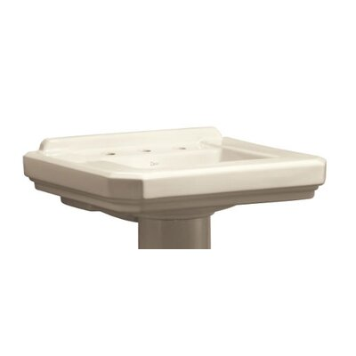 Cirtangular Ceramic 25 Pedestal Bathroom Sink with Overflow Finish: Biscuit