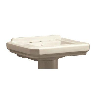Cirtangular 25 Pedestal Bathroom Sink with Overflow Sink Finish: Biscuit