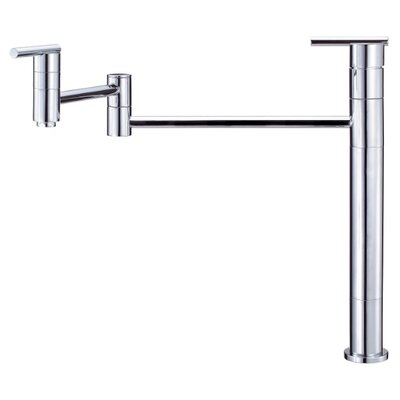 Parma Single Handle Deck Mount Pot Filler Finish: Chrome