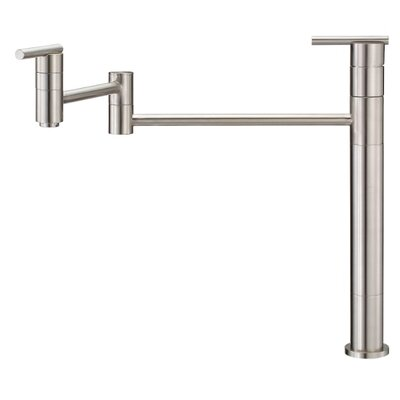Parma Single Handle Deck Mount Pot Filler Finish: Stainless Steel