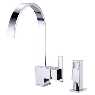Sirius Single Handle Deck Mount Kitchen Faucet with Spray Finish: Chrome