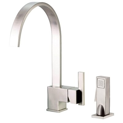Sirius Single Handle Deck Mount Kitchen Faucet with Spray Finish: Stainless Steel