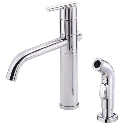 Parma Single Handle Deck Mount Kitchen Faucet with Spray Finish: Chrome