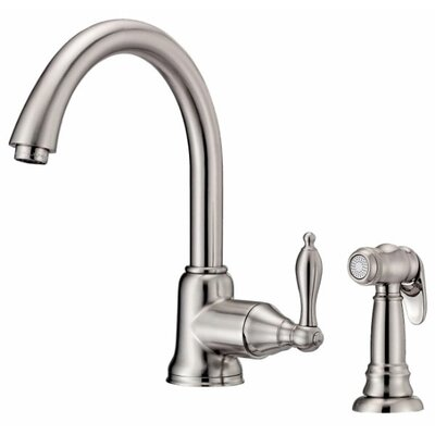 Fairmont Single Handle Deck Mount Kitchen Faucet with Spray Finish: Stainless Steel