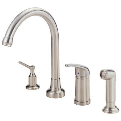 Melrose Single Handle Deck Mount Kitchen Faucet with Spray Finish: Stainless Steel