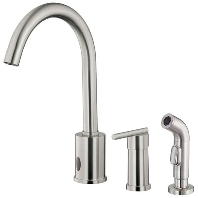 Parma Touchless Single Handle Deck Mount Kitchen Faucet with Spray Finish: Stainless Steel