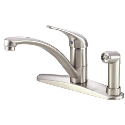 Melrose Single Handle Kitchen Deck Mounted Faucet with Side Spray Finish: Stainless Steel