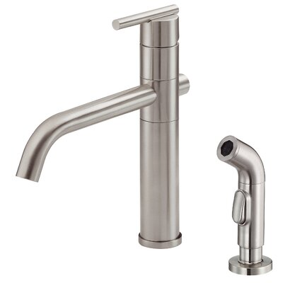 Parma Single Handle Deck Mounted Kitchen Faucet with Side Spray Finish: Stainless Steel