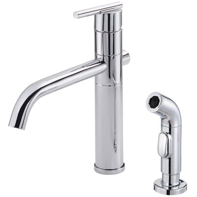 Parma Single Handle Deck Mounted Kitchen Faucet with Side Spray Finish: Chrome