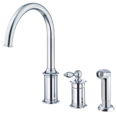 Prince Single Handle Deck Mounted Kitchen Faucet with Side Spray Finish: Chrome