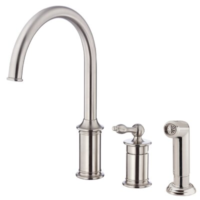 Prince Single Handle Deck Mounted Kitchen Faucet with Side Spray Finish: Stainless Steel