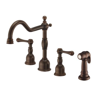 Opulence Double Handle Deck Mounted Kitchen Faucet with Side Spray Finish: Tumbled Bronze