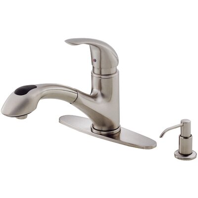 Melrose Single Handle Deck Mounted Kitchen Faucet with Soap Dispenser Finish: Stainless Steel