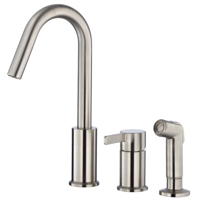 Amalfi Single Handle Deck Mounted Kitchen Faucet with Side Spray Finish: Stainless Steel