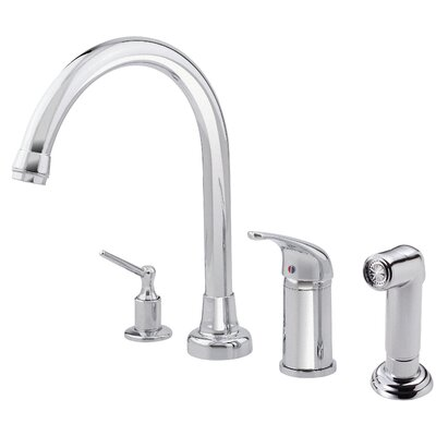 Melrose Single Handle Deck Mounted Kitchen Faucet with Soap Dispenser and Side Spray Finish: Stainless Steel
