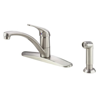 Melrose Single Handle Deck Mounted Kitchen Faucet with Side Spray and Deck Plate Finish: Stainless Steel