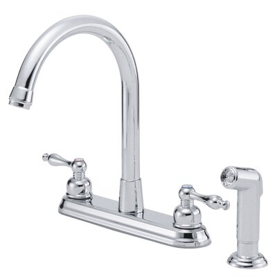 Sheridan Double Handle Deck Mounted Kitchen Faucet with Side Spray Finish: Chrome