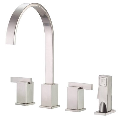 Sirius Double Handle Deck Mount Kitchen Faucet Finish: Stainless Steel