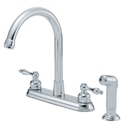 Sheridan Double Handle Deck Mount Kitchen Faucet with Spray Finish: Chrome