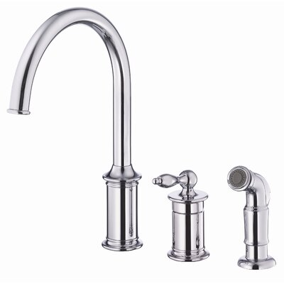 Prince Single Handle Deck Mount Kitchen Faucet with Spray Finish: Chrome