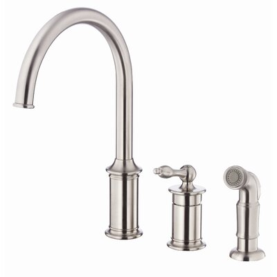Prince Single Handle Deck Mount Kitchen Faucet with Spray Finish: Stainless Steel